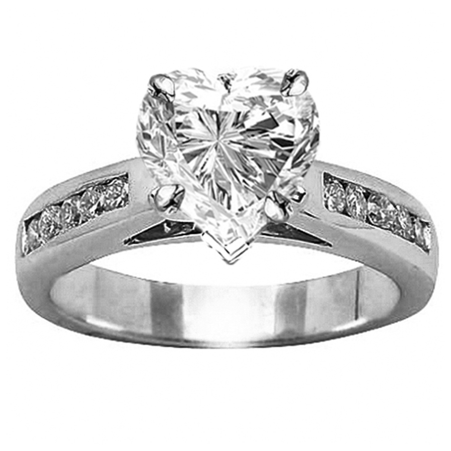 14K White Gold Classic Channel Set Diamond Engagement Ring