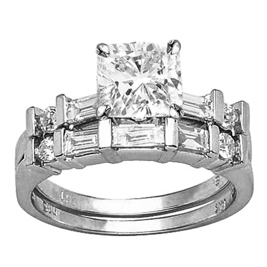 14K White Gold Channel Set Baguette And Round Diamond Wedding Set