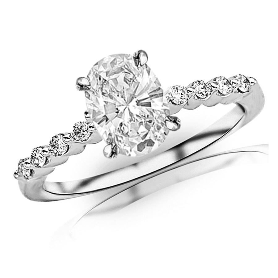 14k white gold floating prong set round diamond engagement ring - Wedding Rings Houston